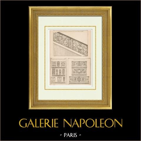 Eisenhütte - Treppe - Tuileries | Original heliotypie-druck nach einem Druck gezeichnet von Blondel, gestochen von Ransonnette. 1920