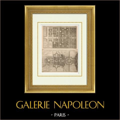 Architecture - Overall plan of a Garden - Project - Jagdschloss in Germany - Project - Le Cateau-Cambrésis - France | Original heliotypie after an engraving drawn by La Faye, engraved by Beauvais. 1920