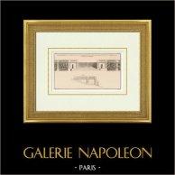 Disegno di Architetto - Decorazione - Terrazza - Balaustro - Barriera - Parc de Saint-Cloud - Île-de-France | Eliotipia originale secondo una stampa disegnata da Raincour, incisa da Le Roy. 1920