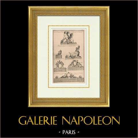 Garden - Decoration - Sphinx - Vase - Garland - Statue - Palace of Versailles - Île-de-France | Original heliotypie after an engraving engraved by Charpentier after Blondel. 1920