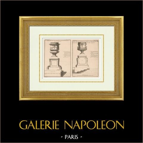 Architektur - Garten - Dekoration - Terrasse - Vase - Piedestal | Original heliotypie-druck. Anonym. 1920