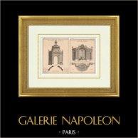 Dessin d'Architecte - Jardin - Décoration - Cabinet de treillage - Lanterne - Berceau de treillage - Fontaine | Héliotypie originale. Anonyme. 1920