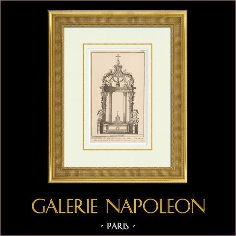 Architektenzeichnung - Liturgisches Möbel - Altar - Basilika Saint-Sauveur - Dinan - Bretagne (Frankreich) | Original heliotypie-druck nach einem Druck gezeichnet von Blondel. 1920