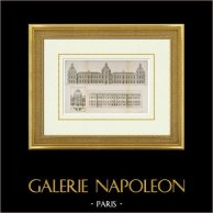 Desenho de Arquitecto - Palácio do Louvre - Fachada - Projeto de Jean Marot - Projeto de Gian Lorenzo Bernini