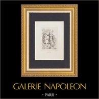 Mythologie - Allégorie - Pallas et le Centaure (Botticelli) | Gravure à l'eau-forte originale dessinée par Trassinetti, gravée par Spagnoli d'après Botticelli. 1837