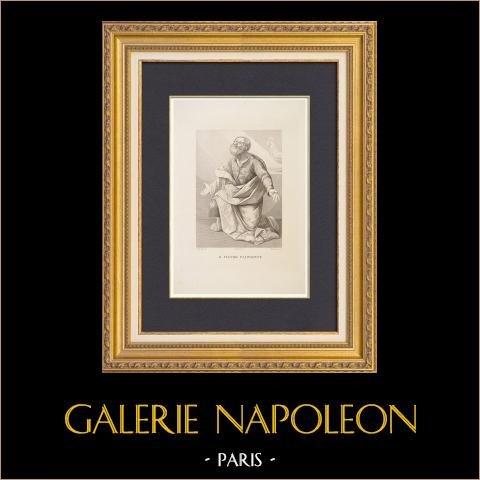São Pedro que Chorando (Guido Reni) | Água-forte original desenhada por Calendi, gravada por Benucci segundo Guido Reni. 1837