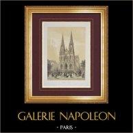 Vista di Parigi - Basilica delle Sante Clotilde - VII Arrondissement di Parigi | Litografia originale disegnata da Chapuy, litografata da Fichot, Ciceri. 1861