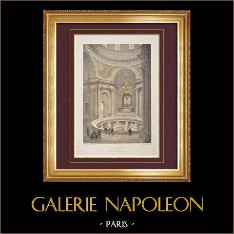 Veduta di Parigi - Hôtel des Invalides - Tomba di Napoleone | Litografia originale disegnata da Philippe Benoist, litografata da Bayot. 1861