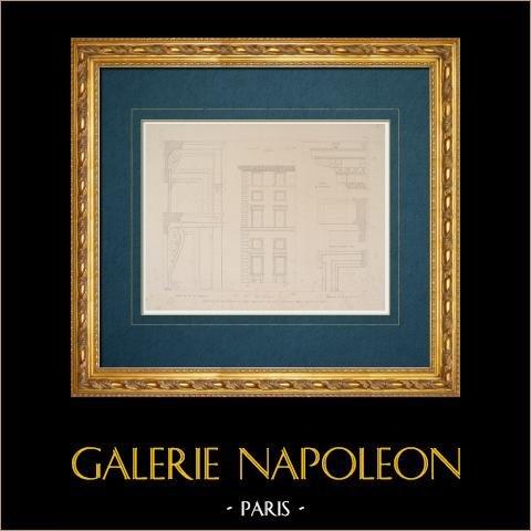 Ritning av Arkitekt - Italien - Moderna Rome - Palats - Palazzo Capranica | Original stålstick efter teckningar av Letarouilly. 1843