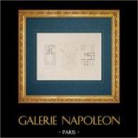 Dessin d'Architecte - Italie - Rome moderne - Cour du Palais Parracciani - Palais Nari - Palais Grimaldi