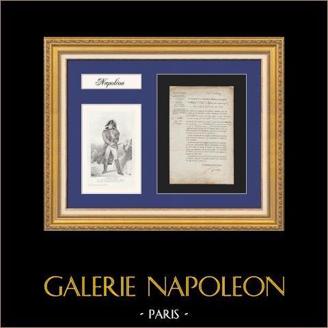 Ministerio de la Guerra - Napoleón - 1807 - Pensión a la viuda de un oficial murió en Saint-Domingue (Haití) | Documento Histórico sobre papel verjurado con filigrana de 1807 y Retrato del Mariscal Ney