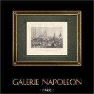 Arrivée de la Reine Victoria - Entente Cordiale - 1843 - Le Tréport - Seine-Maritime (France) | Gravure originale en taille-douce sur acier dessinée par Morel Fatio, gravée par Outhewaite. 1844