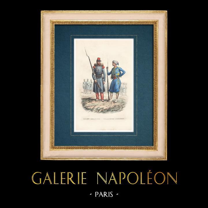 Gravures Anciennes & Dessins   Uniforme - Armée Française - Légion étrangère - Tirailleur indigène   Taille-douce   1843