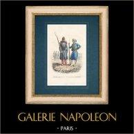 Uniforme - Esercito Francese - Legione straniera francese - Cacciatore nativo | Stampa calcografica originale a bulino su acciaio disegnata da Raffet. 1843