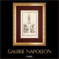 Storia antica - Phallus - Priapo - Mitologia | Incisione originale a bulino su rame incisa da Varin. 1773