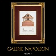 Disegno di Architetto - Bois de Boulogne - Parigi - Chalet - Maison Pelletier (Francia) | Cromolitografia originale disegnata da Vacquer, litografata da Walter. 1861