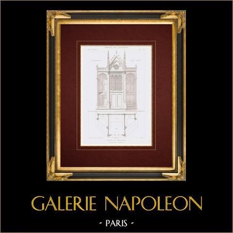 Ritning av Arkitekt - Kyrka - Saint-Jean-Baptiste de Belleville - Biktstol - Paris (M. Lassus) | Original stålstick efter teckningar av Festeau, graverade av Martel. 1861