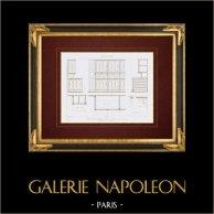 Ritning av Arkitekt - Kyrka - Saint-Jean-Baptiste de Belleville - Paris (M. Lassus)