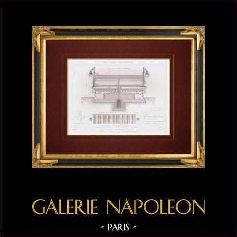 Disegno di Architetto - Impianto di gassificazione - La Villette - Parigi (Francia) | Stampa calcografica originale a bulino su acciaio disegnata da Racine aîné, incisa da Laurent. 1862