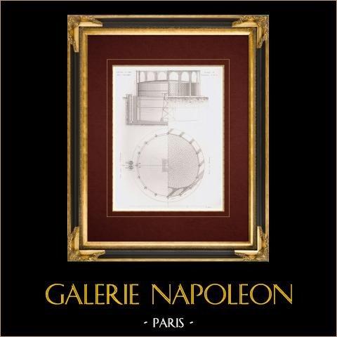 Disegno di Architetto - Impianto di gassificazione - La Villette - Parigi (Francia) | Stampa calcografica originale a bulino su acciaio disegnata da Racine aîné, incisa da Boudrot. 1862