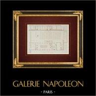 Ritning av Arkitekt - Hôpital Lariboisière - 10:a Arrondissementet Paris - Tvättstuga (Frankrike) | Original stålstick efter teckningar av Racine, graverade av Mortas. 1861