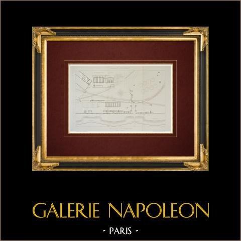 Disegno di Architetto - Impianto di gassificazione - La Villette - Parigi (Francia) | Stampa calcografica originale a bulino su acciaio disegnata da Racine, incisa da Laurent. 1862