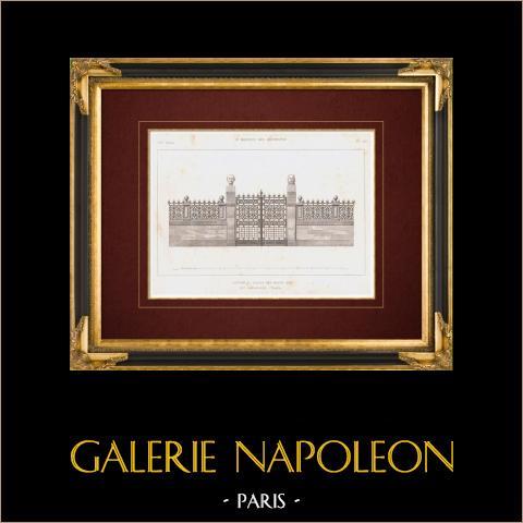 Desenho de Arquitecto - Palais des Beaux-Arts - Rue Bonaparte - Paris (França) | Gravura original em talho-doce sobre aço. Anónima. 1859