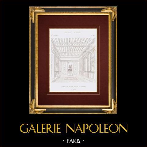 Dessin d'Architecte - Intérieur d'une Salle à Manger à Paris (France) | Gravure originale en taille-douce sur acier. Anonyme. 1859