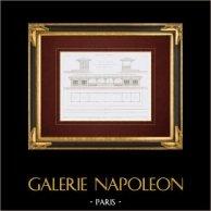 Disegno di Architetto - Architettura - Ferrovia di Ovest - Gare Montparnasse - Riparo di viaggiatori (Gabriel Crétin)