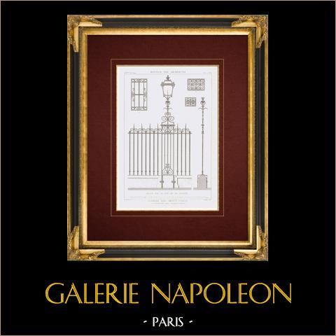 Desenho de Arquitecto - Caserne des Petits Pères - 2º Arrondissement de Paris (França) | Gravura original em talho-doce sobre aço desenhada por Vacquer, gravada por Boullay. 1859