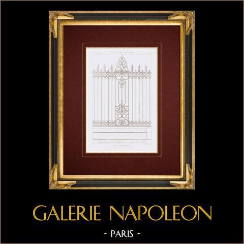 Ritning av Arkitekt - Caisse d'amortissement - Paris - Järnbruk (M. Eudes) | Original stålstick efter teckningar av Vacquer, graverade av Boullay. 1859