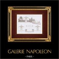 Disegno di Architetto - Bois de Boulogne - Parigi - Panchine - Riparo (Francia) | Stampa calcografica originale a bulino su acciaio disegnata da Vacquer, incisa da Boullay. 1859