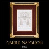 Dessin d'Architecte - Palais du Louvre  - Grande Galerie - Bibliothèque Impériale - Paris