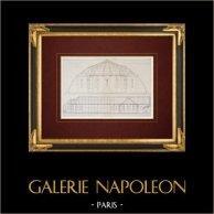 Dessin d'Architecte - Constructions en fer - Jardin d'hiver à Paris (M. Rigolet Constructeur)