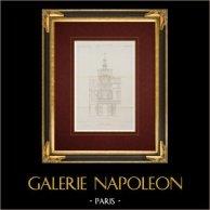 Architektenzeichnung - Louvre-Palast - Pavillon de Rohan - Paris (Louis Visconti and Hector-Martin Lefuel)