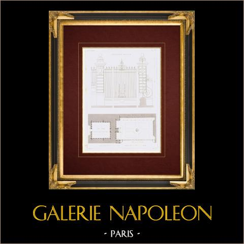 Desenho de Arquitecto - Bibliothèque impériale - 2º Arrondissement de Paris - Hotel Tubeuf (França) | Gravura original em talho-doce sobre aço desenhada por Leblan, gravada por Hibon. 1857