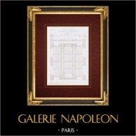 Disegno di Architetto - Hôtel Despommiers - Pavimento - Rue Saint-Dominique-Saint-Germain - Parigi (Sistema Victor Clerc)   Stampa calcografica originale a bulino su acciaio disegnata da Violen. 1857