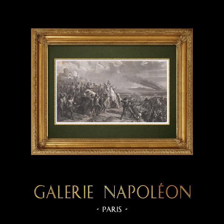 Gravures Anciennes & Dessins   Bataille d'Ascalon - Première croisade - Godefroy de Bouillon (1099)   Taille-douce   1860