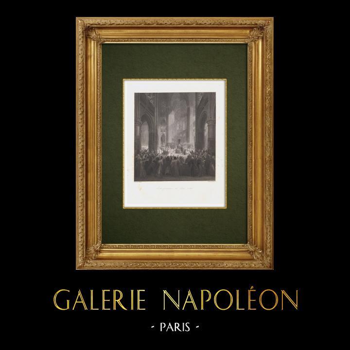 Gravures Anciennes & Dessins | États Généraux de Paris sous Philippe de Valois en 1328 (Jean Alaux) | Taille-douce | 1860