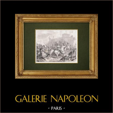 Erstürmung von Calais durch Heinrich von Guise (1558) | Original stahlstich gestochen von Geille nach Picot. 1860