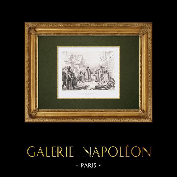 Gravures Anciennes & Dessins | Louis XVI distribue des secours aux pauvres (Hiver 1788) | Taille-douce | 1860