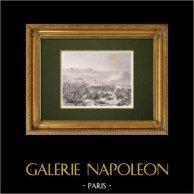 Bataille du Mont-Thabor - Campagne d'Égypte - Napoléon Bonaparte (16 Avril 1799)   Gravure originale en taille-douce sur acier gravée par Pourvoyeur d'après Cogniet. 1860
