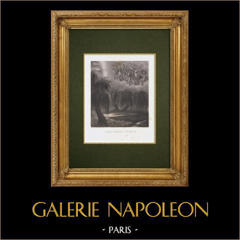 Tumba de Napoleón - Isla de Santa Helena - Alegoría | Grabado original en talla dulce sobre acero dibujado por Alaux, grabado por Lalaisse según Horace Vernet. 1860