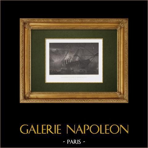 Retour des cendres de Napoléon Ier de l'île de Sainte Hélène (13 décembre 1840) | Gravure originale en taille-douce sur acier gravée par Skelton d'après Isabey. 1860