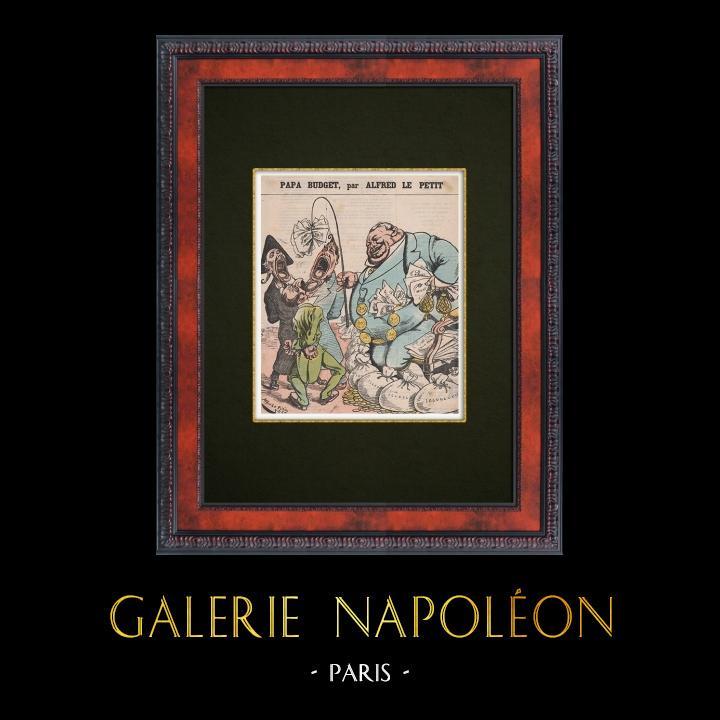 Gravures Anciennes & Dessins | Caricature Politique - 1877 - Finance - Papa Budget | Gravure sur bois | 1877