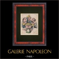 Caricature Politique - 1877 - Léon Gambetta - Léon Renault - Louis Blanc - A Tous Les Coups l'on Gagne ! | Gravure sur bois originale dessinée par H. Demare, gravée par Michelet. 1877