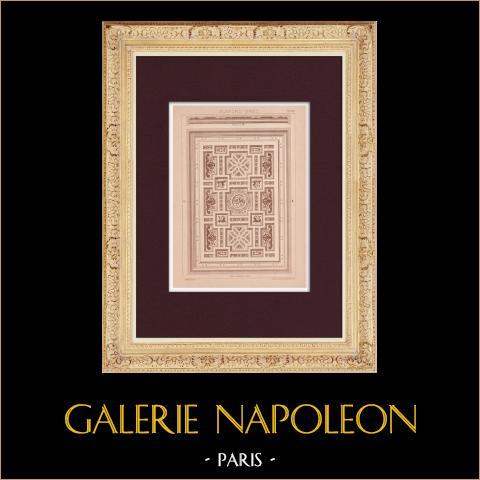 Plafond - Grèce | Impression originale dessinée par Claudius Trenet. 1920