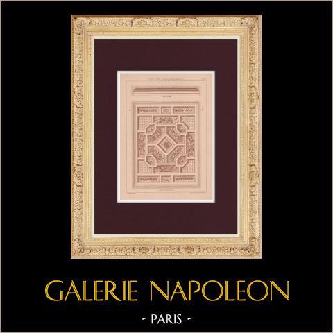Plafond - Renaissance | Impression originale dessinée par Claudius Trenet. 1920