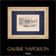 Repas en attendant la revue du 14 juillet - Fête nationale française | Impression originale dessinée par Guillaume. 1920