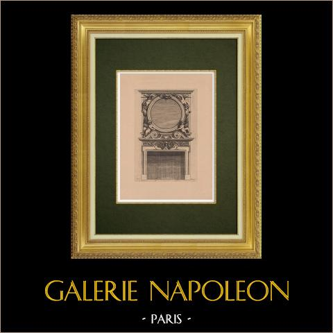 Arts Décoratifs - Cheminée (Marot) | Gravure à l'eau-forte originale sur papier bistre gravée par Pequegnot d'après Marot. 1858